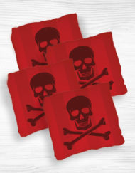 Corn hole bags red skull design