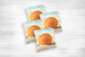 Corn hole bags seashell design